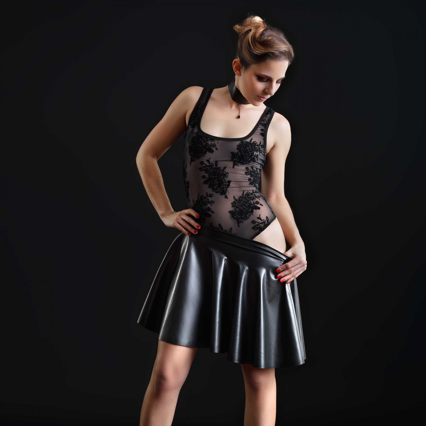 Kat, jupe sexy en faux cuir noir - Patrice Catanzaro