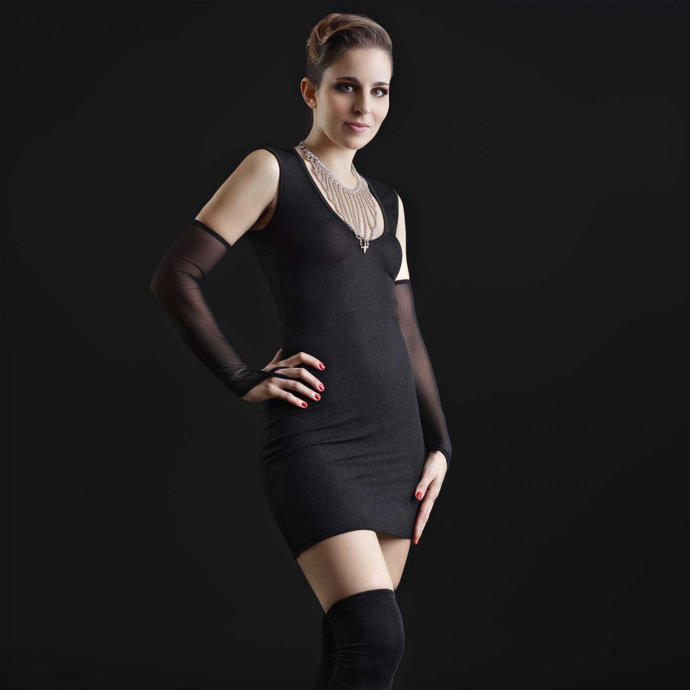 Galaxy, robe sexy en lycra noir - Patrice Catanzaro