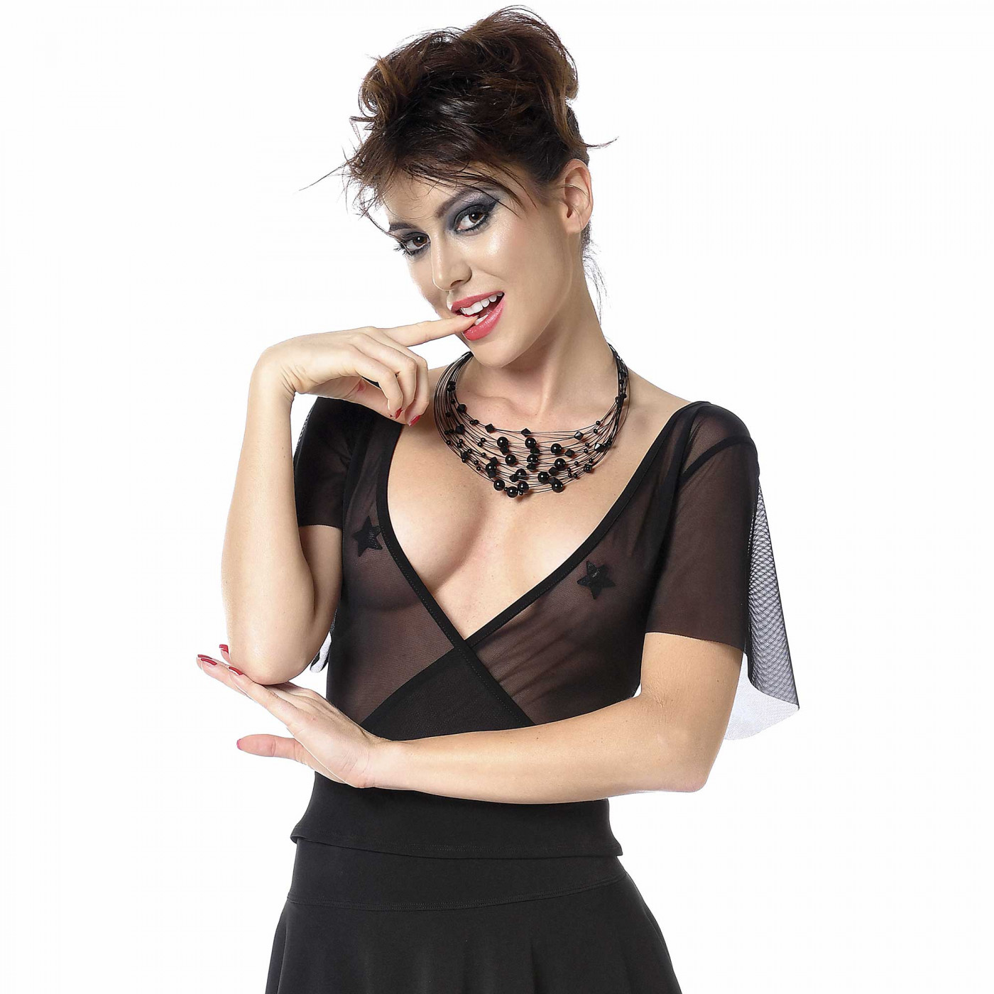 Nima, t-shirt sexy en résille noire - Patrice Catanzaro