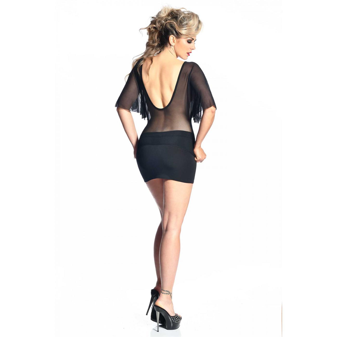 Aloha, mini jupe sexy en lycra noir - Patrice Catanzaro