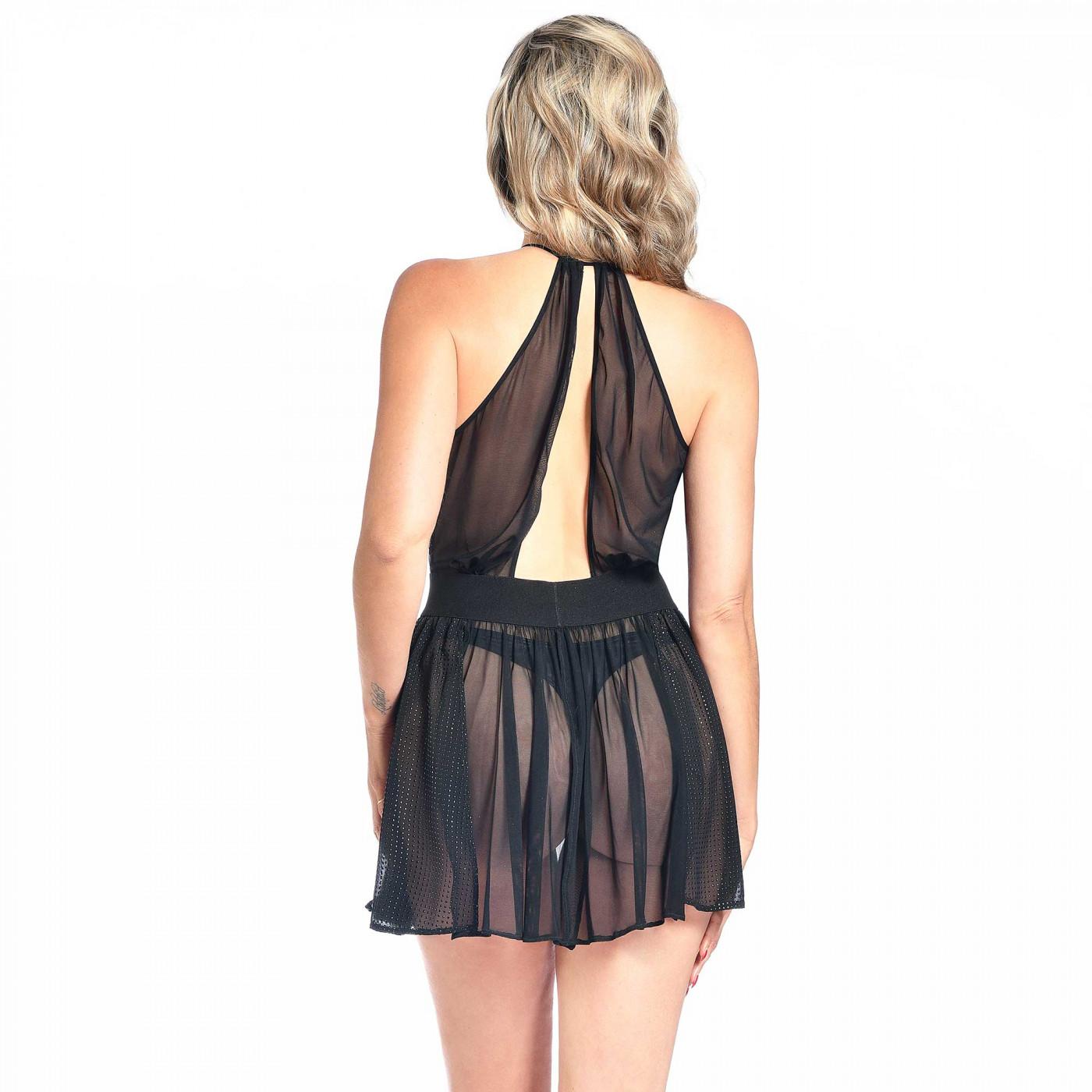 Azalea, mini robe sexy en voile noir - Patrice Catanzaro