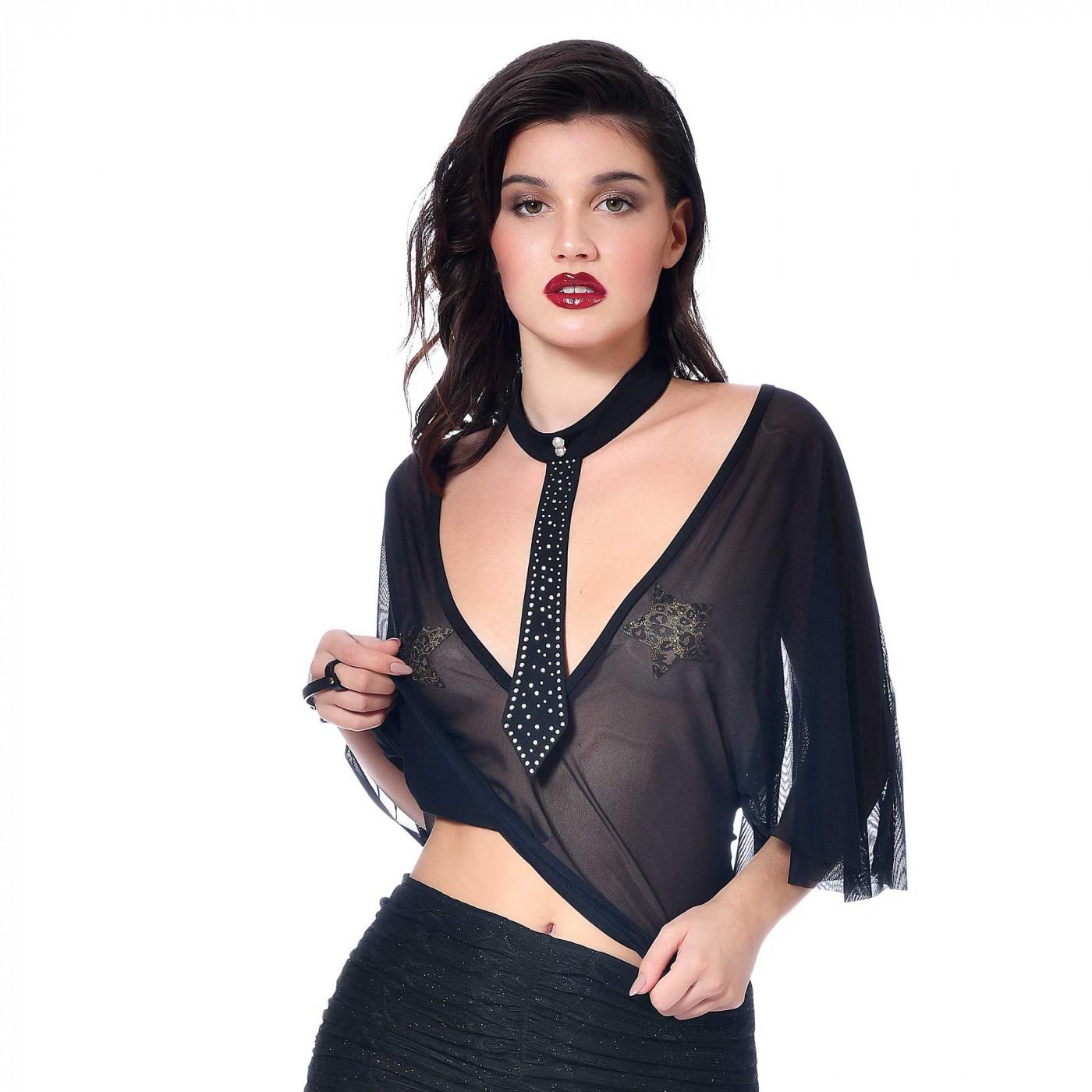 Topaze, top sexy en résille noire  - Patrice Catanzaro site Officiel