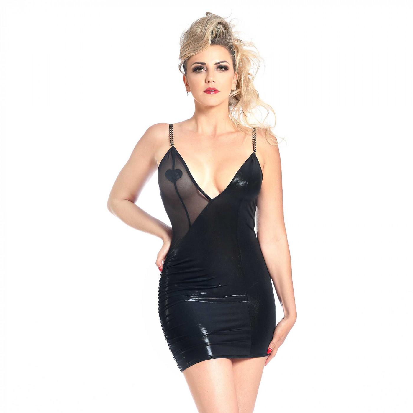 Clera, robe en lycra brillant noir - Patrice Catanzaro