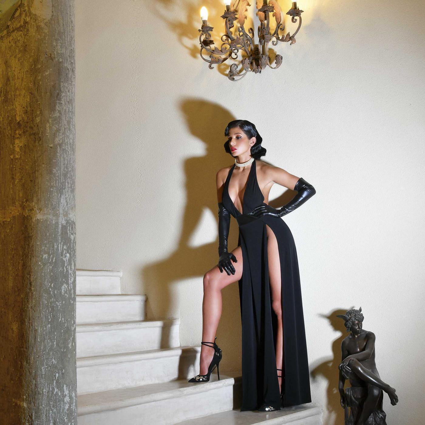 Isabella, robe longue en lycra noir - Patrice Catanzaro