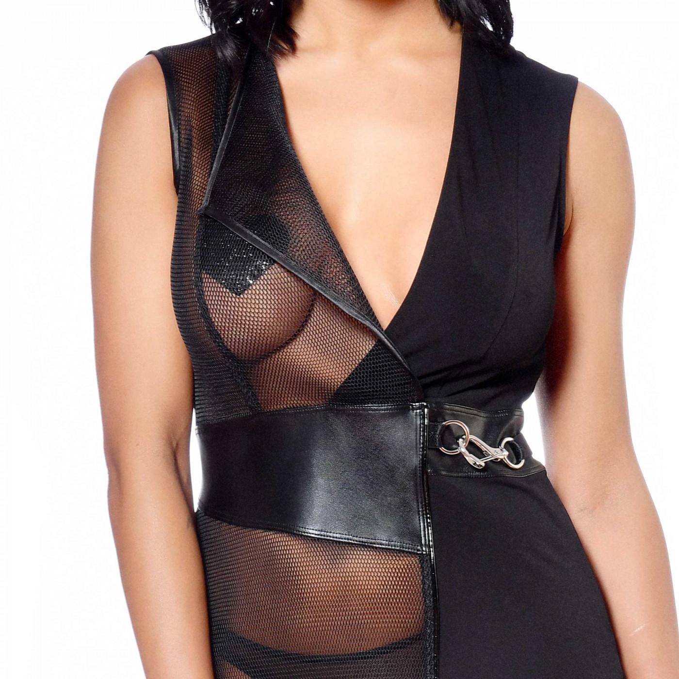 Eva, robe fétiche en lycra noir - Patrice Catanzaro