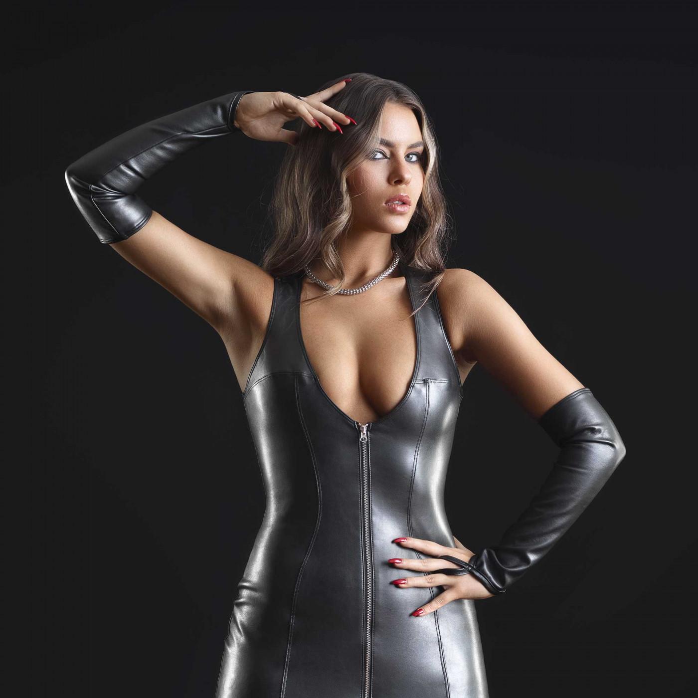 Mitaines fétiches en faux cuir noir - Patrice Catanzaro