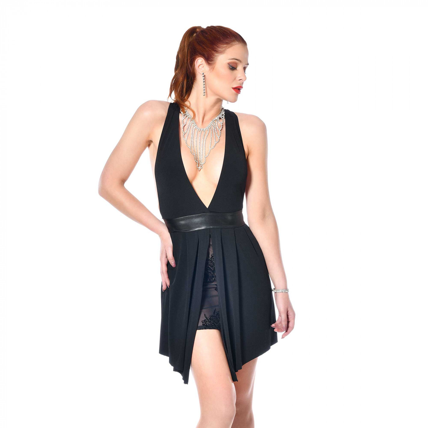Tatiana, robe sexy en lycra noir - Patrice Catanzaro