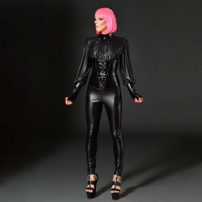 Zoelie, sexy black lycra bodysuit - Patrice Catanzaro
