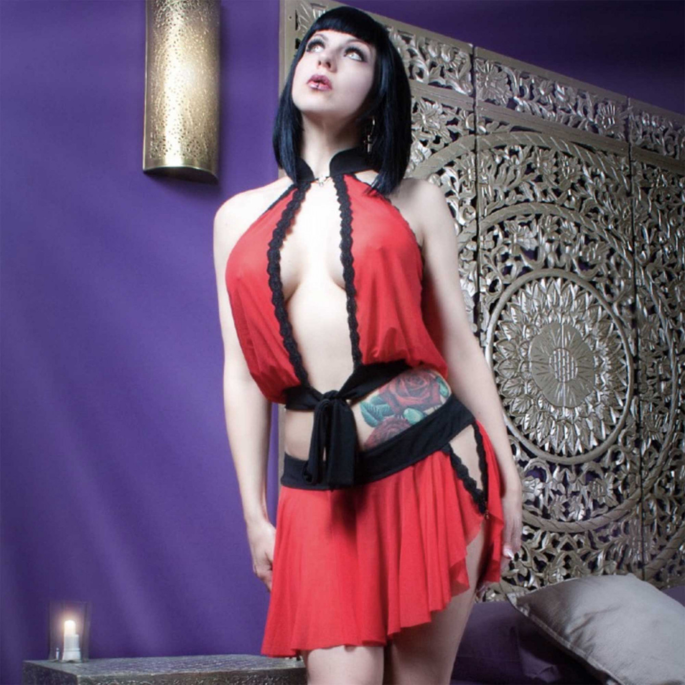 Elia, ensemble sexy en résille rouge - Patrice Catanzaro