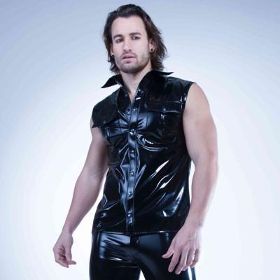 Benjen, black wetlook t-shirt - Patrice Catanzaro