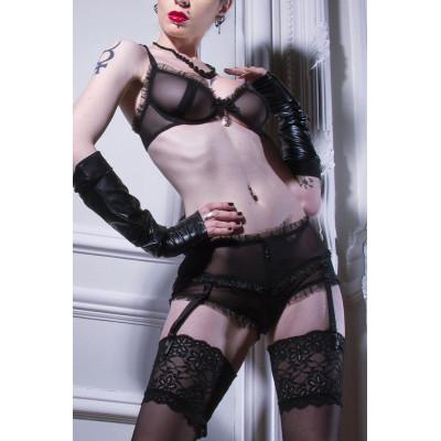 Brenda, sexy black wetlook dress - Patrice Catanzaro